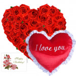 Red Heart - 30 Red Roses Heart Shaped Arrangement + Heart Shaped Pillow + Card