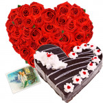 Pure Heart - 30 Red Roses Heart Shaped + Black Forest Heart Cake 2 kg + Card