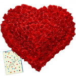 Heart of Roses - 200 Red Roses Heart Shaped Arrangement + Card