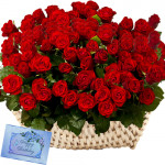Lots Of Love - 100 Red Roses Basket + Card