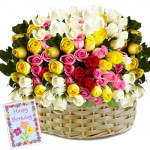 Garden of Roses - 200 Mix Roses Basket + Card