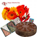 Valentines Delicious Delight - 12 Red and Yellow Gerberas, 1/2 Kg Chocolate Cake, Assorted Dryfruit 200 gms in Box and Card