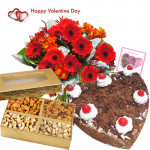 Valentine Nutty Hamper - 20 Red Gerberas in Bunch, 1/2 kg Black Forest Cake, Assorted Dryfruit 200 gms Basket and Card