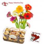 Valentine Surprise - 15 Mix Gerberas Bunch, Ferrero Rocher 16 pcs and Card
