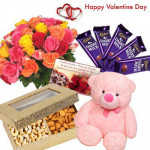 """Valentines Mix Treat - 12 Mix Roses Bunch, Cashew & Almond 400 gms, 5 Dairy Milk 13 gms each, Teddy 8"""" and Card"""