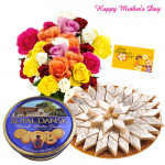 For My Mom - 20 Mix Roses, 500 gms Kaju Katli, Danish Cookies 454 gms and Card
