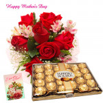 For Angel Mom - 10 Red Roses, Ferrero Rocher 24 pcs and Card