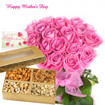 For Lovely Mom - Bunch of 15 Pink Roses, 200 Gms Assorted Dryfruits Box and Card