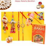 Rakhi Family Set - Diamond with Auspicious, 2 Lumbas and  3 Kids Rakhis