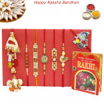 Rakhi Family Set - Rudraksha with Auspicious, 3 Diamond and Lumbas Rakhis