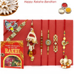 Rakhi Family Set - Rudraksha with Auspicious, 3 Diamond, Lumbas and Kids Rakhis