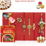 Rakhi Family Set - 2 Auspicious with 2 Diamonds, Lumba and 2 Kids Rakhis