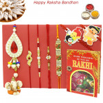 Rakhi Family Set - Auspicious Rakhi with Sandalwood, Diamond, Pearl, Lumba and 2 Kids Rakhis