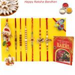 Rakhi Family Set - Auspicious Rakhi with Sandalwood, Mauli, Rudraksha, Diamond, Pearl, Lumba Rakhis