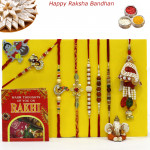 Rakhi Family Set - Auspicious Rakhi with Sandalwood, Mauli, Rudraksha, Diamond, Pearl, Lumba and Kids Rakhis