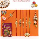 Rakhi Family Set - 2 Auspicious Rakhis with 2 Diamonds, 2 Pearl, Lumba and 2 Kids Rakhis