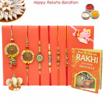 Rakhi Family Set - Bhaiya Bhabhi Rakhi with Mauli, Sandalwood, Diamond, Pearl and Kids Rakhis