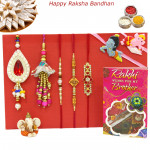 Rakhi Family Set - Auspicious Rakhi with Diamond, Pearl, 2 Lumba and Kids Rakhis