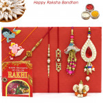 Rakhi Family Set - Auspicious Rakhi with Diamond, Pearl, 2 Lumba and 2 Kids Rakhis