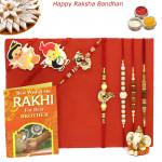 Rakhi Family Set - Auspicious Rakhi with Sandalwood, Rudraksha, Diamond, Pearl and 2 Kids Rakhis