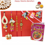Rakhi Family Set - 2 Diamond Rakhi with Auspicious, 2 Lumba and Kids Rakhis