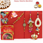 Rakhi Family Set - Diamond Rakhi with Auspicious, 2 Lumba and 3 Kids Rakhis