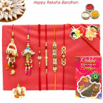 Rakhi Family Set - Auspicious Rakhi with Diamond, Pearl, Sandalwood, 2 Lumba and Kids Rakhis