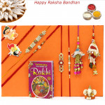 Rakhi Family Set - Diamond Rakhi with Auspicious, Pearl, Sandalwood, 2 Lumba and 2 Kids Rakhis