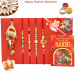 Rakhi Family Set - 3 Pearl Rakhis with Diamond, Lumba and 2 Kids Rakhis