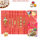 Rakhi Family Set - 2 Auspicious Rakhis with 2 Diamond, 2 Pearl, Lumba and Kids Rakhis