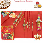 Rakhi Family Set - 2 Auspicious Rakhis with 2 Diamond, 2 Pearl, Lumba and 2 Kids Rakhis