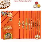 Rakhi Family Set - 2 Auspicious Rakhis with 2 Diamond, 2 Pearl, 2 Rudraksha, 2 Sandalwood and 2 Kids Rakhis