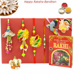 Rakhi Family Set - Bhaiya Bhabhi Rakhi with Mauli, Lumba and 2 Kids Rakhis