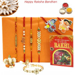 Rakhi Family Set - Mauli Rakhi with Lumba, Rudraksha, Sandalwood, Pearl and 2 Kids Rakhis