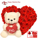 """Valentine Lovable Combo - 50 Red Roses Heart + Teddy with Heart 10"""" + Card"""