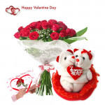 Hugging Teddy & Roses - 15 Red Roses Bouquet + Hugging Teddy + Card