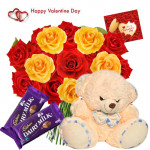 Heartfull Valentine Gift - 20 Red & Yellow Roses + Teddy 6 inch + 2 Dairy Milk + Card
