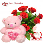 """Valentine Roses Teddy - 15 Red Roses Bunch + Teddy with Heart 24"""" + Card"""