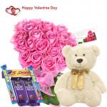 "Valentine Love Treat - 12 Pink Roses + 5 Cadbury Chocolates + Teddy 6"" + Card"
