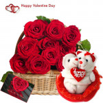 Valentine Cute Couple - 20 Red Roses Basket + Couple Teddy with Heart + Card