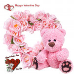 """Pink Valentine Teddy - 25 Pink Roses Heart Shape + Pink Teddy 6"""" + Card"""
