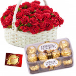Basket with Ferrero - 50 Red Roses in Basket, Ferrero Rocher 16 Pcs + Card