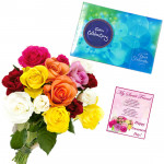 Celebrations with Love - 10 Mix Colour Roses Bunch, Cadbury Celebration + Card