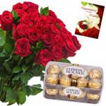 Huge Ferrero Hamper - 50 Red Roses Bunch, Ferrero Rocher 16 Pcs + Card