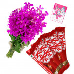 Orchid Crunch - 6 Purple Orchids Bunch, 5 KitKat Chocolate Bars + Card