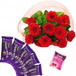 Roses N Choco Bars - 10 Red Roses Bunch, 5 Cadbury Dairy Milk + Card