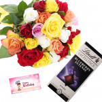 Mix of Lindt - 10 Mix Roses Bunch, Lindt Excellence Chocolate + Card