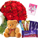 Rosy Assortment - 25 Red Roses Bunch, Assorted Cadbury Hamper, Teddy Bear 6 Inch and Card