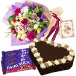Floral Heart - 15 Roses & Carnations Bunch, 3 Fruit n Nut, Heart Shaped Chocolate Cake 1 Kg + Card