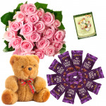 Soft Pink Combo - 20 Pink Roses Bunch, 10 Dairy Milk, Teddy Bear 8 inch + Card